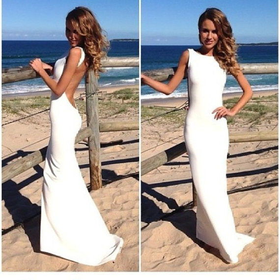 Sexy White Prom Dress Evening Dresses Open Back White by 214EVER