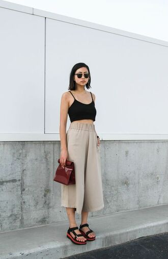 black crop top crop tops platform sandals culottes ordinary people rayban black sunglasses wide-leg pants high waisted pants white pants tank top