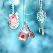 jewels,pendant,necklace,cup,alice in wonderland,key
