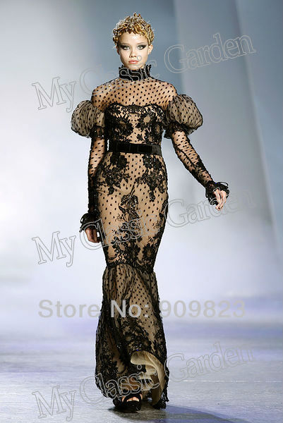 Aliexpress.com : buy couture high collar puffy long sleeves elegant black lace nude lining natural waist zuhair murad trumpet evening dresses gowns from reliable lace short dress suppliers on my classic garden