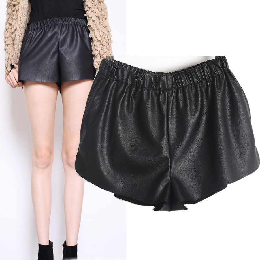 Autumn summer 2013 Fashion Woman Black Faux PU Leather Shorts Hot Mini Boots Pants Elastic Size S/M/L Free Shipping-in Shorts from Apparel & Accessories on Aliexpress.com