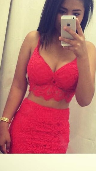 dress coordinates two-piece hot two-piece co ords orange lacey lacey dress