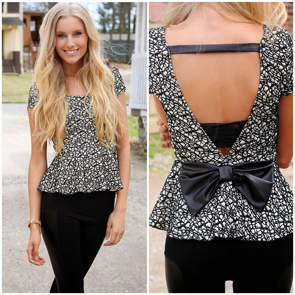 tshirt black shirt white cute black and white peplum top backless blouse bow leather