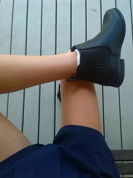 boots black ankle boots chelsea boots tumblr