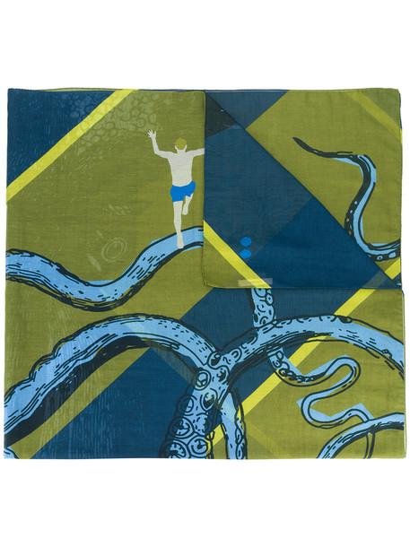 women scarf cotton blue silk