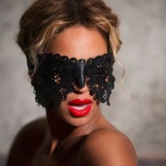 mask jewels black butterfly beyoncé lace red lipstick