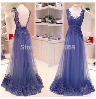 Aliexpress.com : buy 2015 new elegant luxurious long a line v neckline tank blue appliques lace evening dress prom pageant dress custom made dyp101 from reliable dress hosiery suppliers on roman holiday wedding dresses