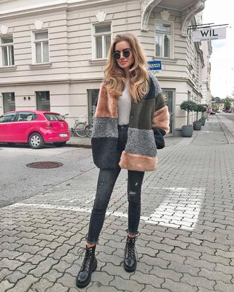 coat tumblr fur coat fur collar coat denim jeans black jeans skinny jeans boots black boots biker boots