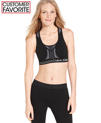 Calvin Klein Performance Reversible Racerback Sports Bra - Tops - Women - Macy's