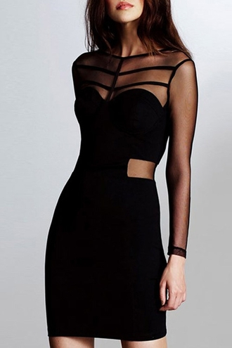 dress sexy black mesh long sleeves mesh design see-through bodycon dress hot trendy party