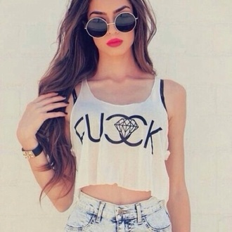shirt chanel summer chanel t-shirt diamonds white t-shirt sunglasses top tank top chanel top dress t-shirt