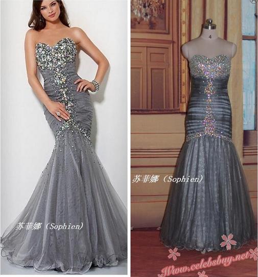 Celebrity prom dress: Red carpet grey jewel sweetheart mermaid dress $228 each at Celebsbuy.net