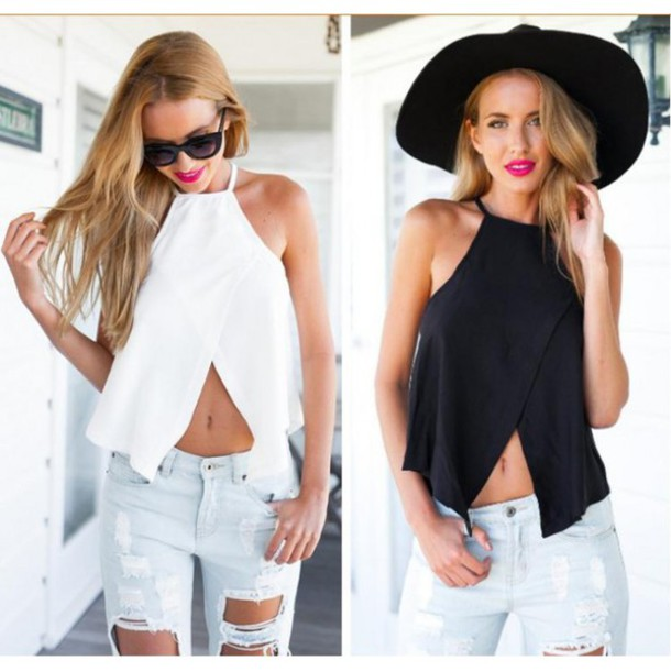 e63dde25ae top cool sexy tank top vest sleeveless black white instagram pinterest  tumblr snapchat outfit fashion beach