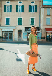 shoes,mules,midi skirt,cardigan,button up,bag