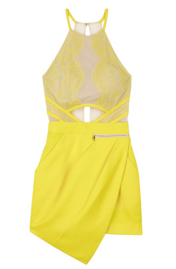 Yellow Sleeveless Overlay Lace Asymmetric Hem Jumpsuit - Sheinside.com