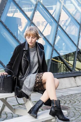 lotta liina love blogger sweater dress winter dress grey dress lace skirt chelsea boots