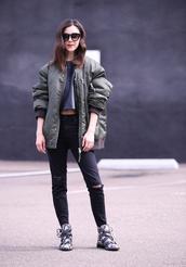 inspades,blogger,jacket,top,jeans,sunglasses,shoes,bomber jacket,oversized jacket,crop tops,black jeans