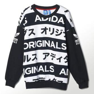 sweater adidas typo black black and white health goth street goth sportswear japan japanese grunge goth hipster