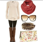 sweater,leggings,scarf,fall outfits,winter outfits,boots,sunglasses,jewels,bag,tall boots,infinity scarf