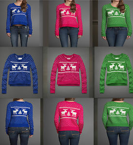 Abercrombie Fitch Womens Gemma Moose Sweater Blue Dark Blue Red Pink | eBay