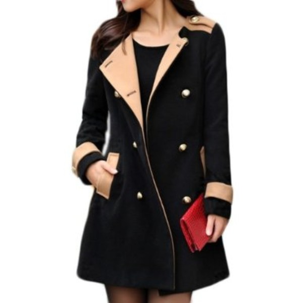 jacket coat black tan military style coat women's trench coat fall outfits winter outfits