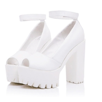 shoes platform shoes platform heels spring summer 2015 peep toe tumblr pale pastel white shoes white heels kawaii kawaii fashion japanese fashion tokyo fashion korean fashion kfashion kpop kpop shoes chinese fashionc fashion chinese fashion found on tumblr