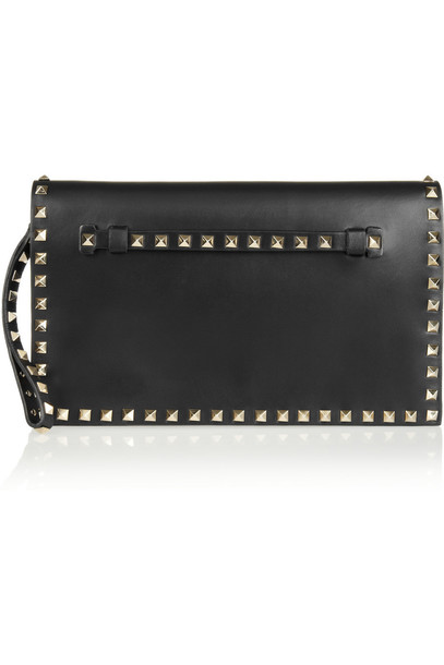 Valentino The Rockstud Leather Clutch in black