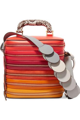 snake zip bag shoulder bag leather suede red