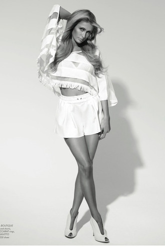 shoes booties paris hilton white shorts all white everything top sheer editorial