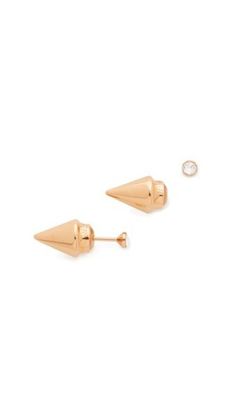 mini rose gold rose clear earrings gold jewels