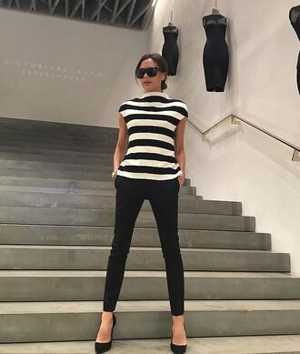 top pants victoria beckham pumps striped top stripes