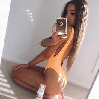 swimwear vibrant neon orange one piece swimsuit retro swimsuit