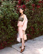 shoes,mules,brown mules,blazer,top,skirt,bag,pink,pink bag