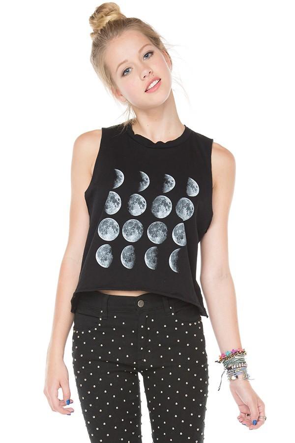tank top brandy melville moon tank shirt t-shirt black
