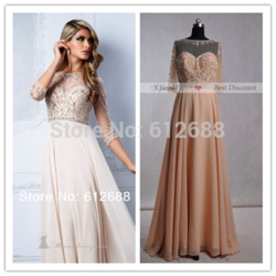 Online shop 2015 new arrival beige long chiffon beading crystal prom dresses party formal gown 3/4 sleeves party/prom evening dresses