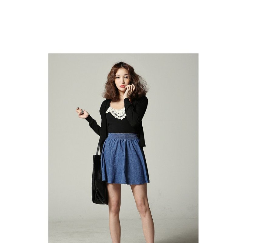 Band Waist Denim Skater Skirt - SARAH | YESSTYLE