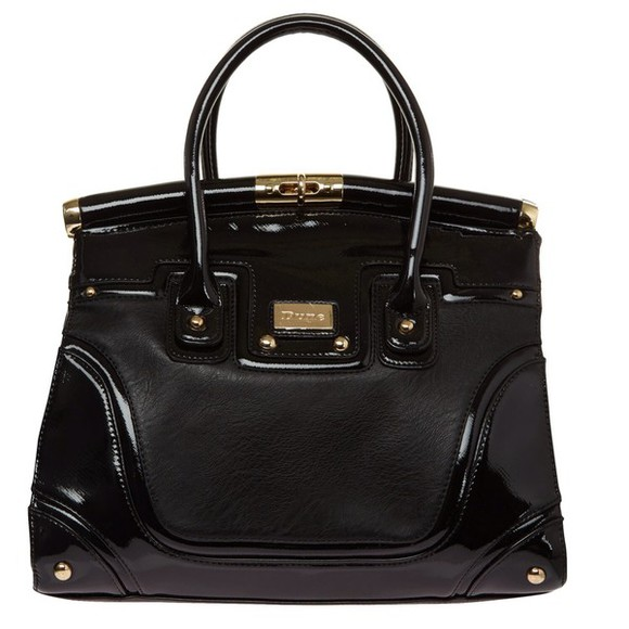 leather black bag black bag Dune patent cute