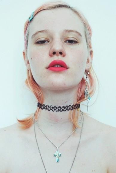jewels lace necklace grunge girly grunge pale grunge grunge jewelry