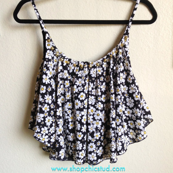Studded Crop Top Handkerchief Tank  Daisy Flower by ShopChicStud