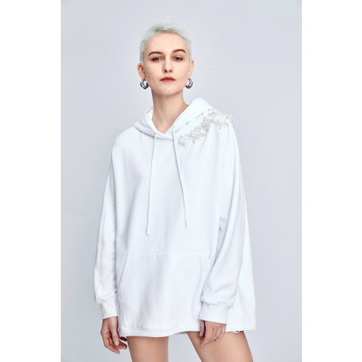 White oversized hoodie with embroidery | Miss Sixty Online Store