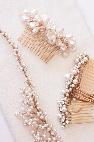 jewels pearl beaded pink hair accessory