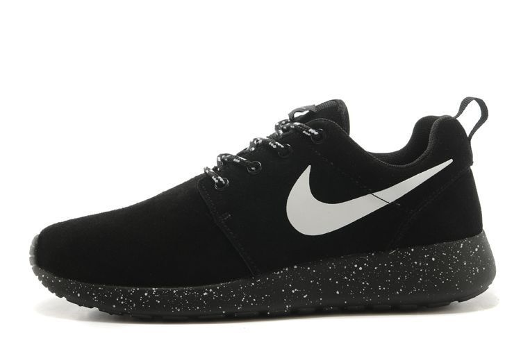 outlet store 87dd3 55a8a Roshe Run Leather Black White Logo Running Shoes For Men