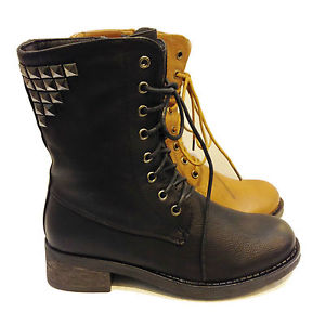NEW WOMENS WINTER ZIP MILITARY FUR BOOTS LADIES ARMY STUD BOOTS 3TO8 M7022 | eBay