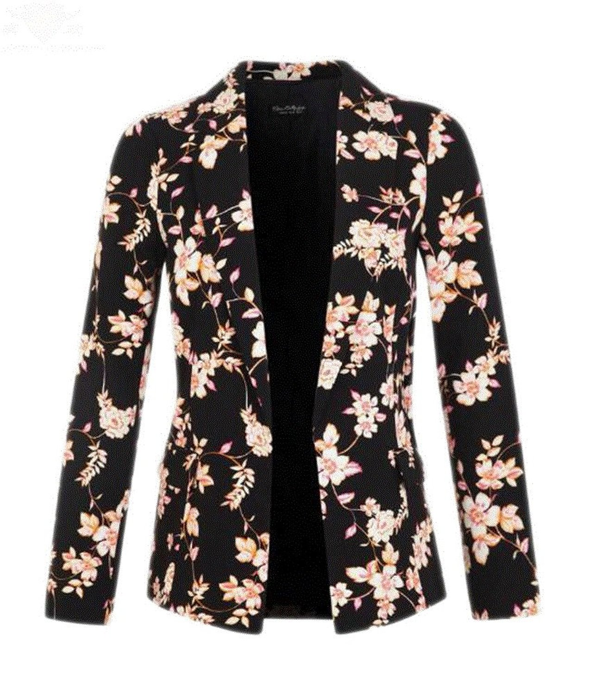 Angelclothing Women Fall Lapel Collar Flower Slim Tops Jacket Blazer