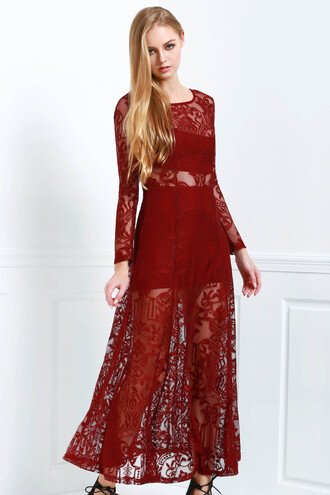 dress red lace maxi dress long sleeves beautiful burgundy dressfo maxi fashion