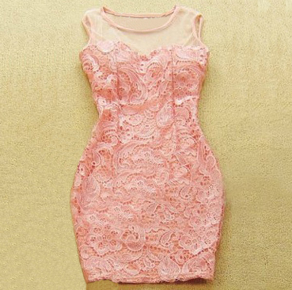dress pink party lace baby pink pretty short tight tight