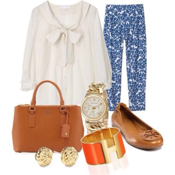 pants blue blouse