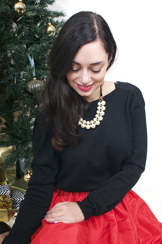 coco and vera blogger sweater skirt red skirt pearl necklace