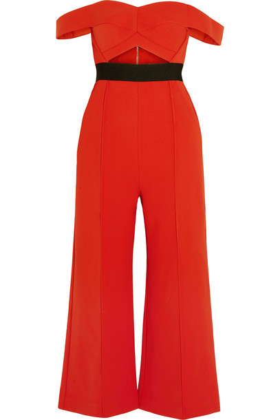 Self-Portrait Off-the-Shoulder Cutout Ponte Jumpsuit in red