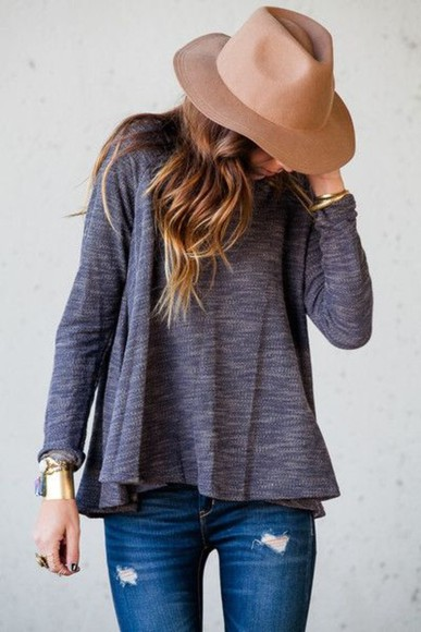 hat floppy hat summer fall fashion long sleeve fall outfits